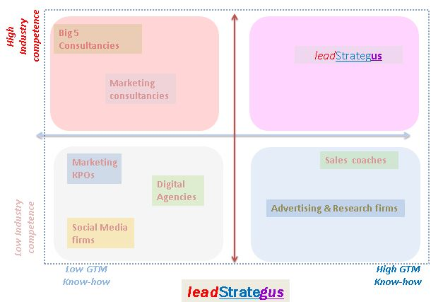 Only leadStrategus combines the Industry competence of high-end  Consulting firms with the practitioner's know-how of Go To Market